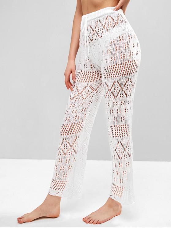 Pantalones de ganchillo de lazo de gran altura - Blanco S