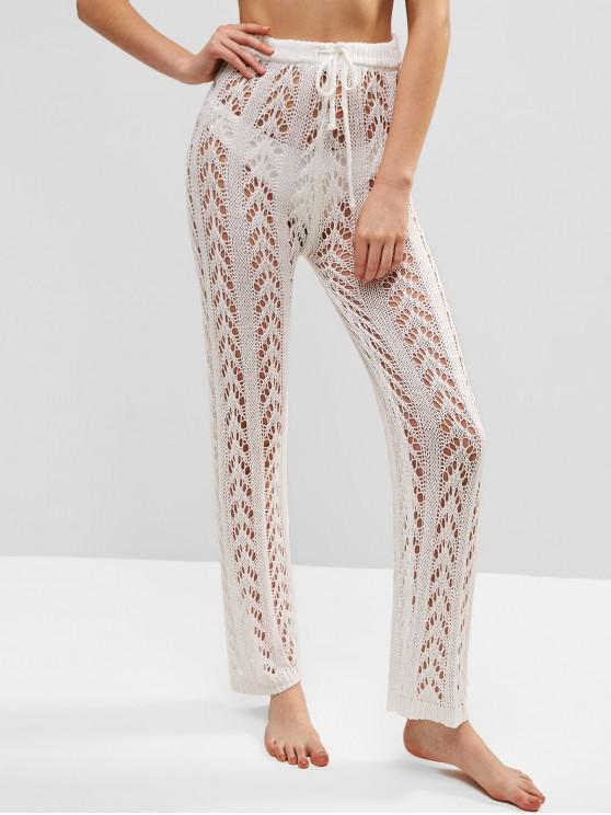 39 Off 2019 Sheer Drawstring Crochet Beach Pants In White Zaful