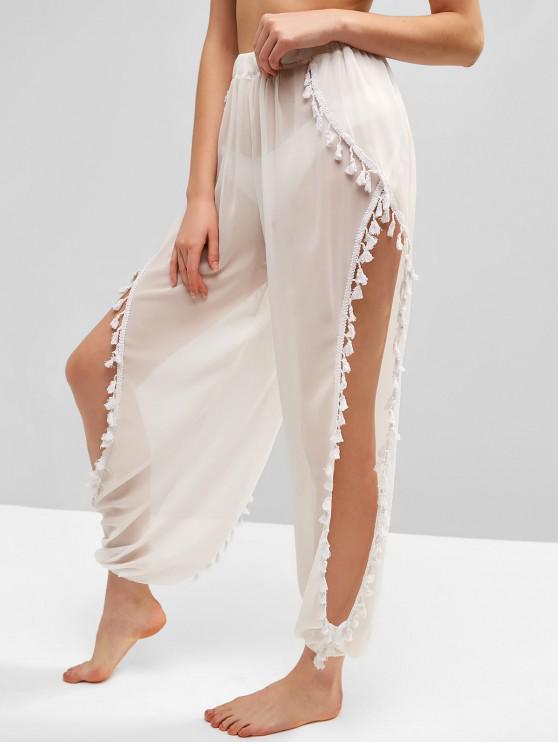 womens Tassels Split Sheer Chiffon Pants - WHITE ONE SIZE