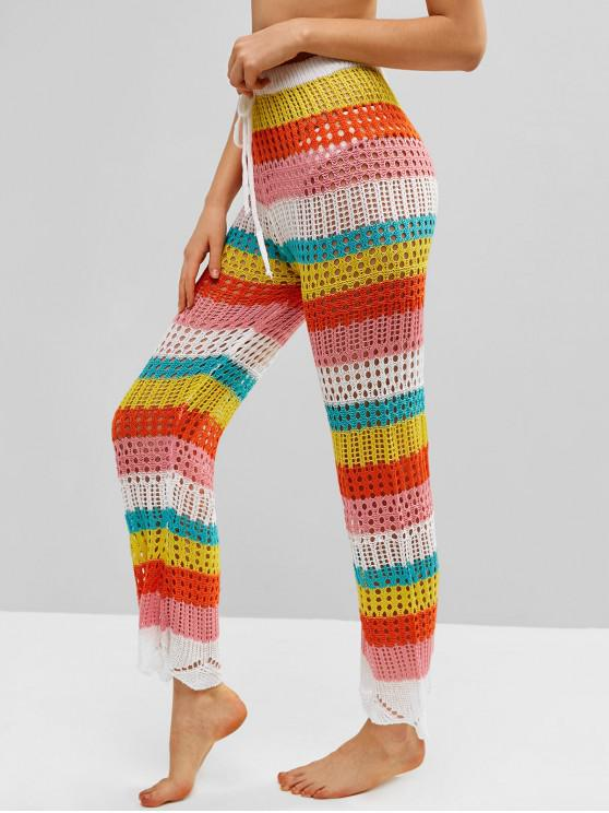 outfit Color Block Crochet Pants - MULTI-A S