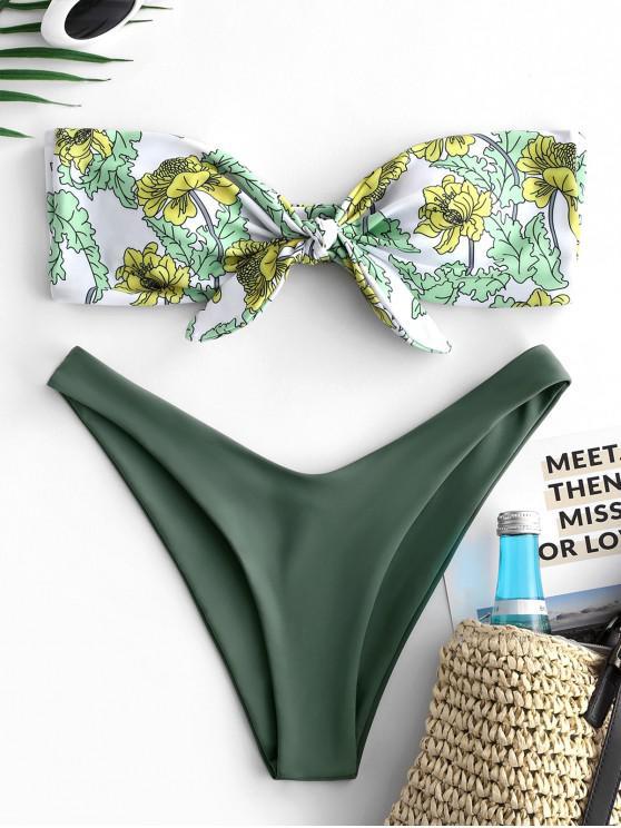 online ZAFUL Flower Knotted Tube Bikini Set - DARK SEA GREEN L