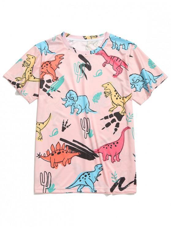 shops Dinosaur Printed Short Sleeves T-shirt - MULTI-C 2XL