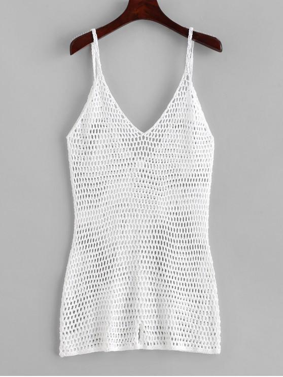 fancy Tie Crochet Romper - WHITE ONE SIZE
