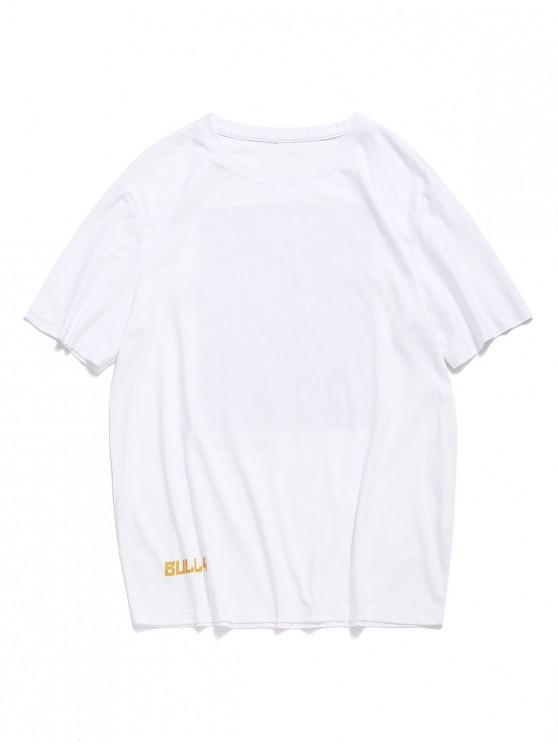 T-shirt manches courtes à imprimé lettres et lettres abstraites - Blanc S