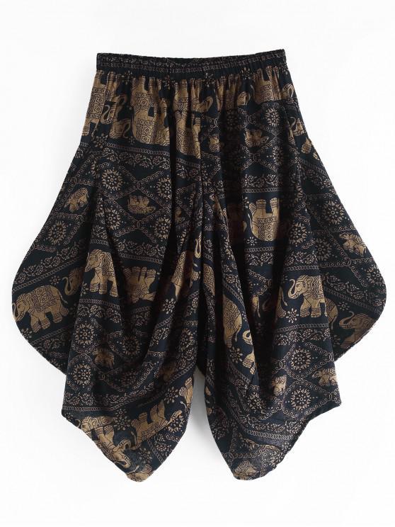 shop Tribal Floral Elephant Print Harem Pants - MULTI 4XL