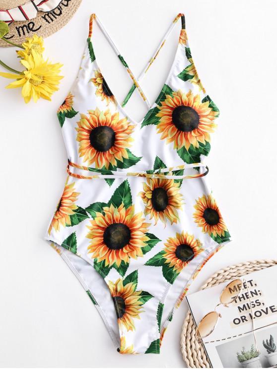 ladies ZAFUL Sunflower Print Crisscross One-Piece Swimsuit - WHITE S