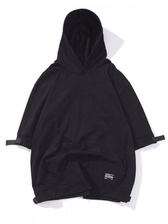 Camiseta con capucha de color sólido de bolsillo de canguro - Negro 2XL