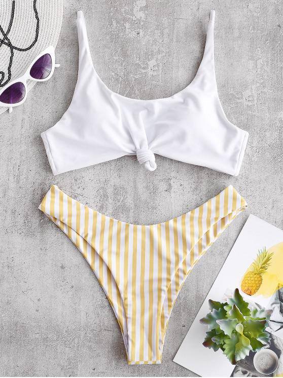 sale ZAFUL Brazilian Flag Print Contrast Striped Knot Bikini Set - GOLDENROD M