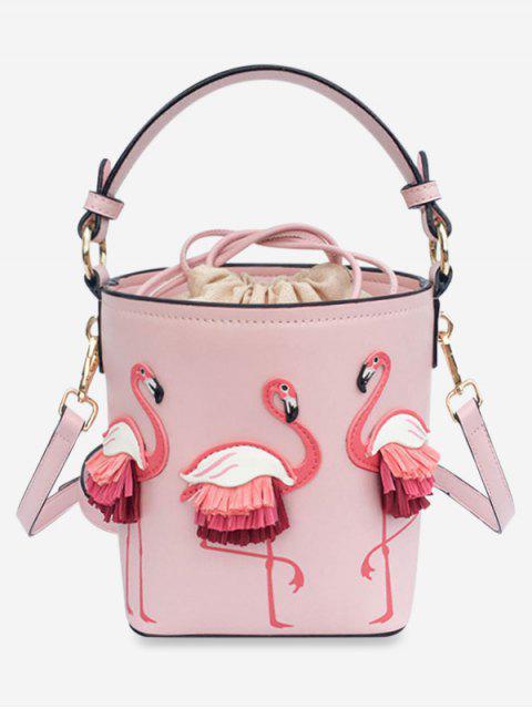Сумка через плечо Со шнуровкой Узор фламинго - Оранжевый розовый  Mobile