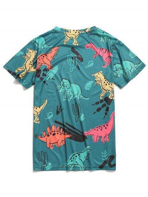 Camiseta de manga corta con estampado de dinosaurios - Multicolor-B 2XL Mobile