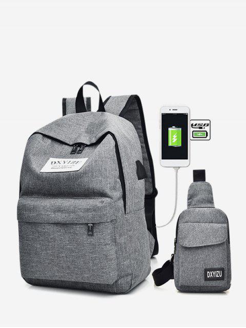 trendy Charging Canvas Crossbody Bag Backpack Set - BATTLESHIP GRAY  Mobile