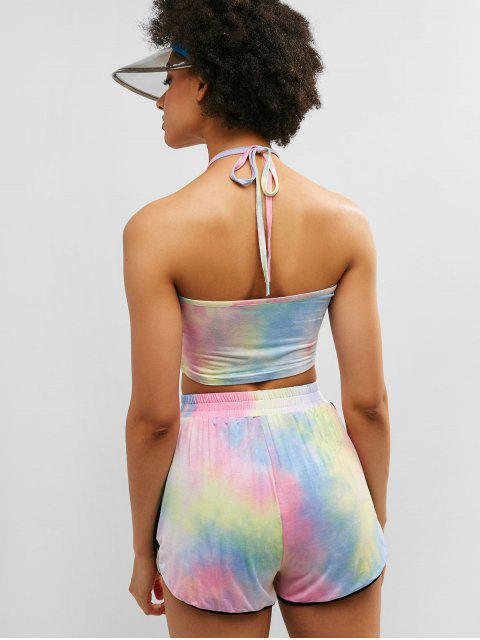 ZAFUL Tie Dye Halter Ringer Shorts Set - Multicolor-A S Mobile