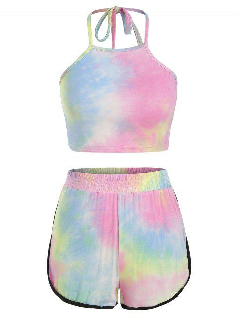 ZAFUL Tie Dye Halter Ringer Shorts Set - Multicolor-A L Mobile