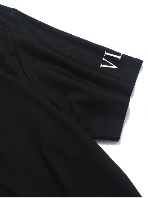 Camiseta Casual Manga Corta Estampado Carta - Negro XS Mobile