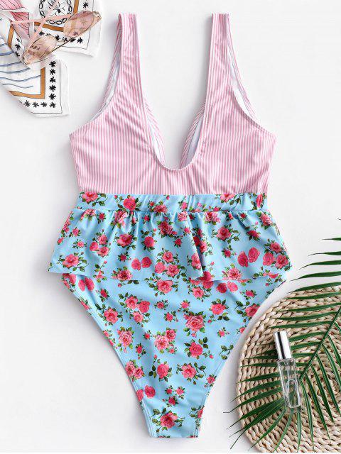 unique ZAFUL Striped Floral Plunging Peplum Swimsuit - MULTI-A XL Mobile