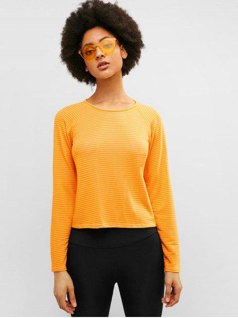 ZAFUL camiseta de manga raglán a rayas - Amarillo S Mobile