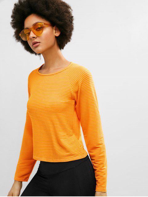 ZAFUL camiseta de manga raglán a rayas - Amarillo L Mobile