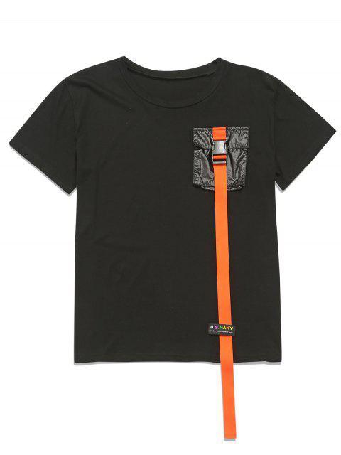 ZAFUL Ribbon Pecho bolsillo túnica Tee - Negro M Mobile