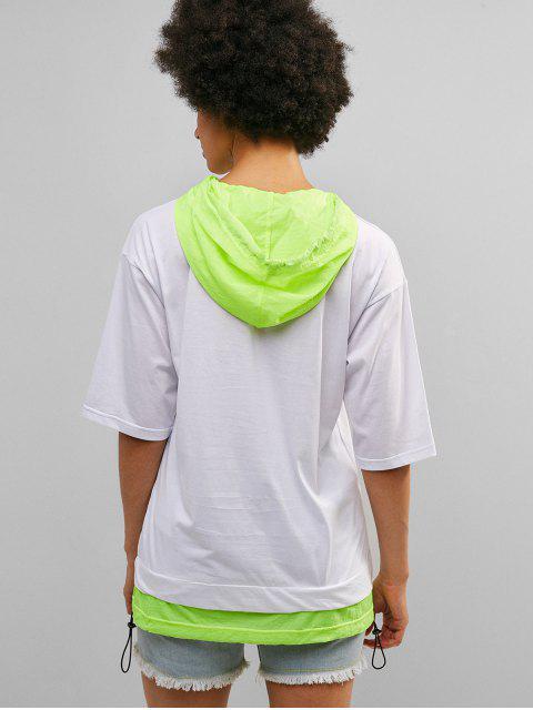 ZAFUL neón con cordón túnica con capucha camiseta - Blanco L Mobile