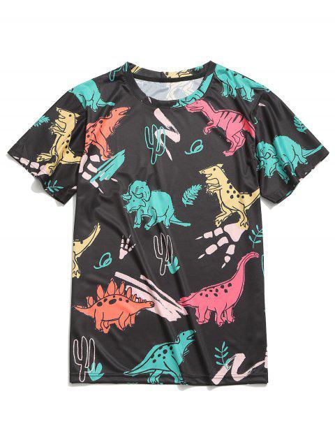 Camiseta de manga corta con estampado de dinosaurios - Multicolor-A L Mobile