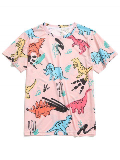 Camiseta de manga corta con estampado de dinosaurios - Multicolor-C L Mobile