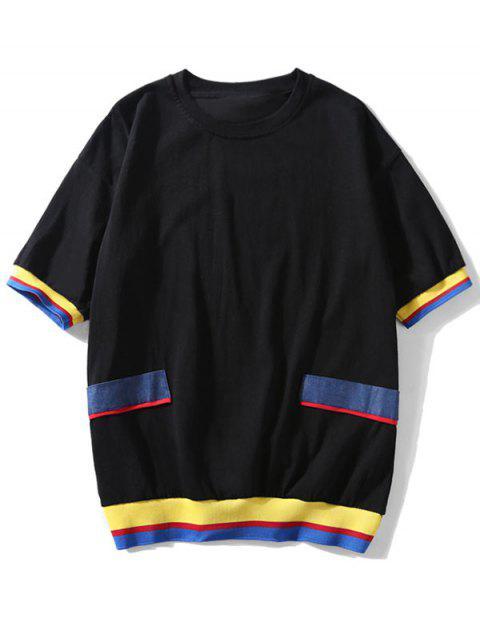 Camiseta de manga corta empalmada color casual - Negro M Mobile