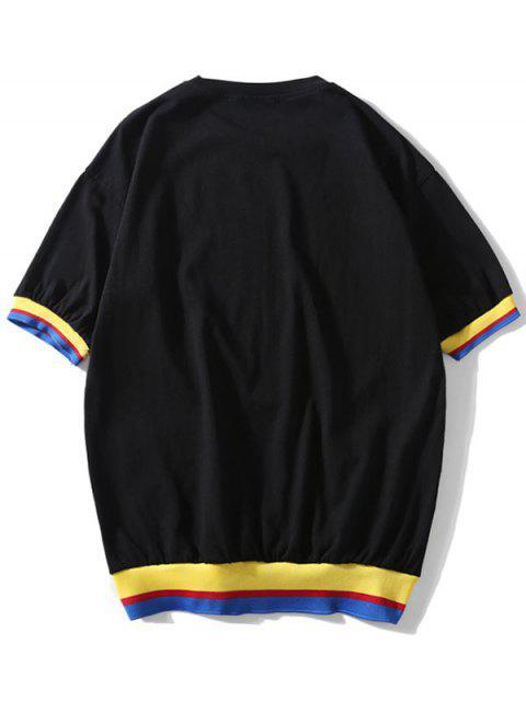 Camiseta de manga corta empalmada color casual - Negro S Mobile
