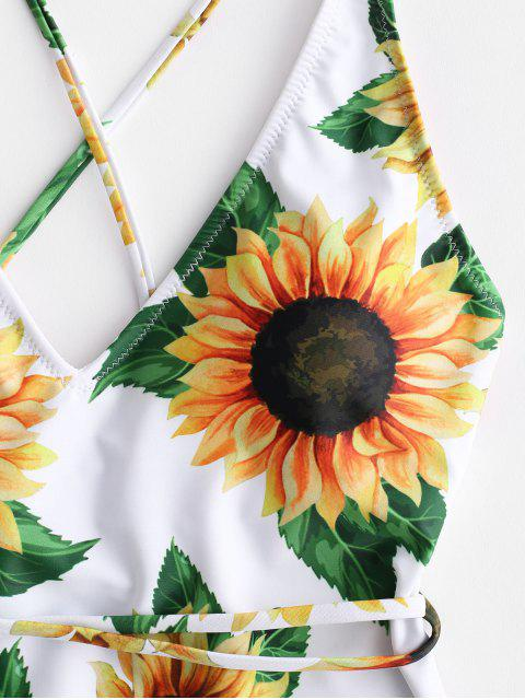 sale ZAFUL Sunflower Print Crisscross One-Piece Swimsuit - WHITE XL Mobile