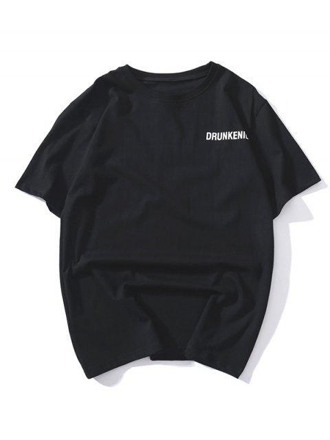 圖案印花短袖T卹 - 黑色 S Mobile