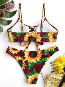 3f7ecee980b 18% OFF] [HOT] 2019 ZAFUL Sunflower Lace Up Tank Bikini Set In RED ...