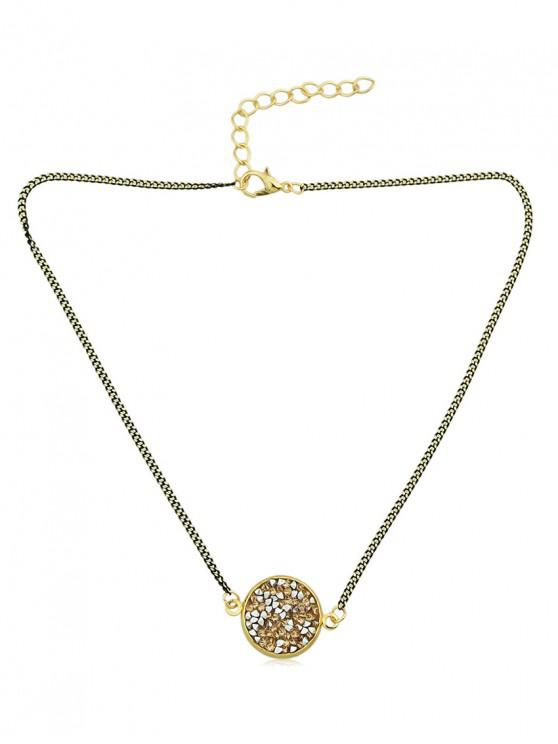 outfits Shiny Round Pendant Choker Necklace - BEIGE