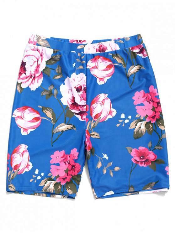 outfit Flowers Printed Beach Shorts - BLUE 2XL