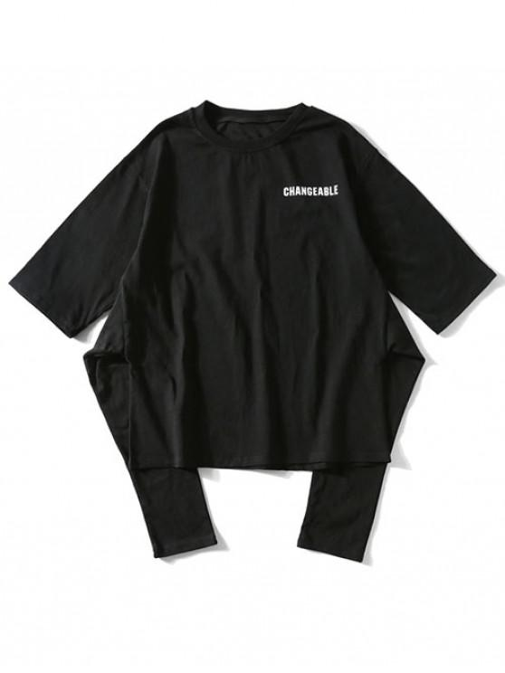 Camiseta de manga corta con estampado de letras - Negro S