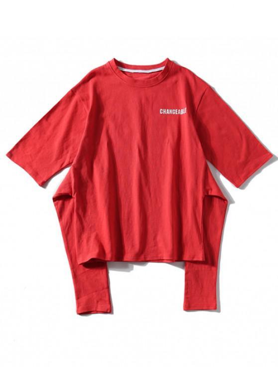 Camiseta de manga corta con estampado de letras - Rojo Frijol L