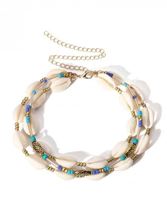 buy Layered Beaded Shell Necklace - GOLD