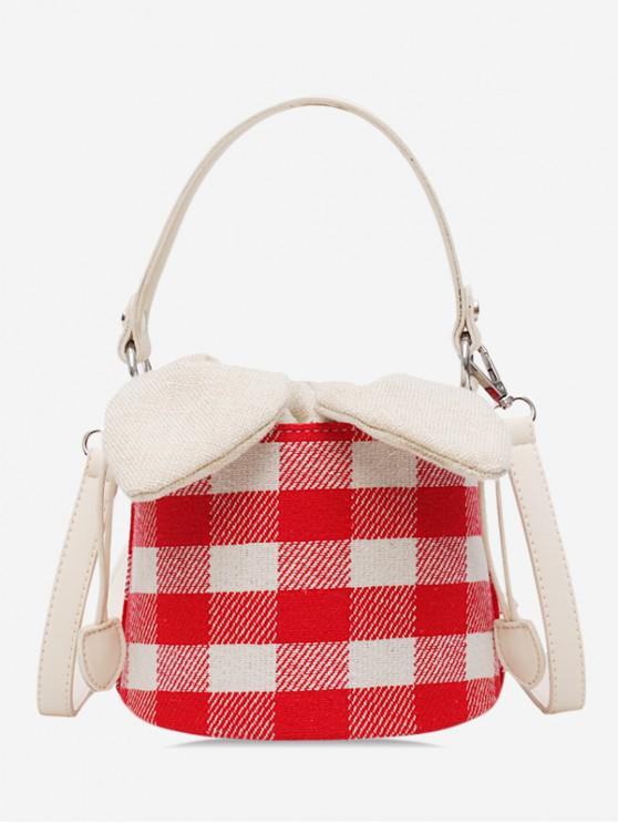 women Grid Pattern Bucket Bowknot Shoulder Bag - LAVA RED
