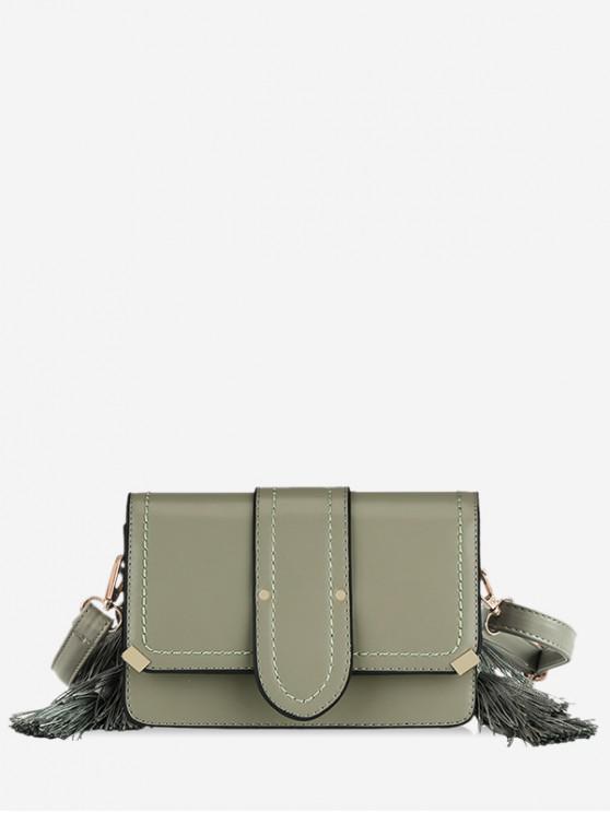women's Tassel Design Leather Shoulder Bag - GREEN