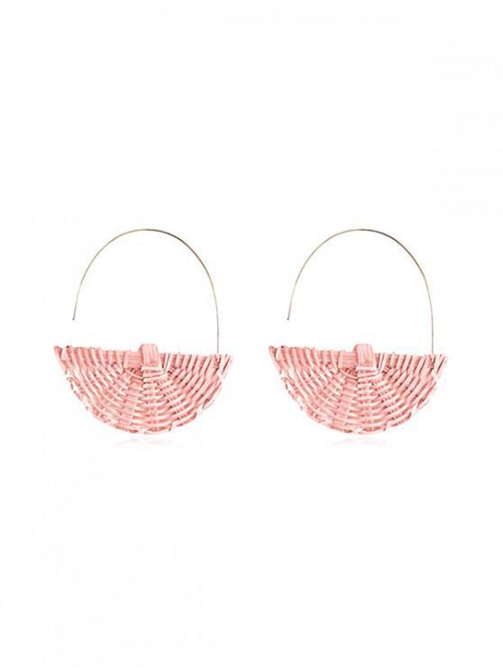 lady Semicircle Rattan Handmade Earrings - PIG PINK