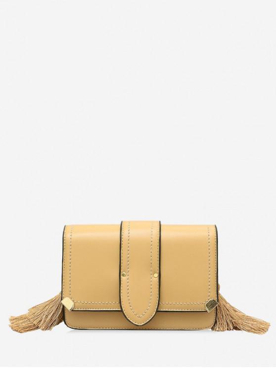 hot Tassel Design Leather Shoulder Bag - YELLOW