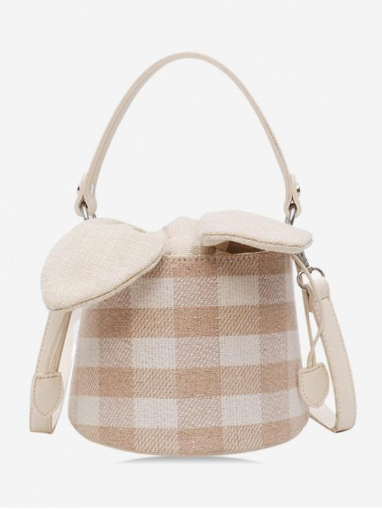 outfits Grid Pattern Bucket Bowknot Shoulder Bag - LIGHT KHAKI