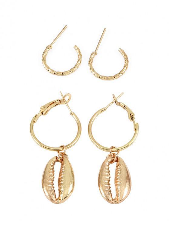 shops 2Pairs Shell Shape Earrings Set - GOLD