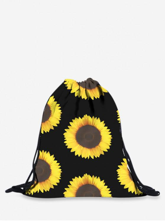 latest Sunflower Pattern Print String Backpack - BLACK