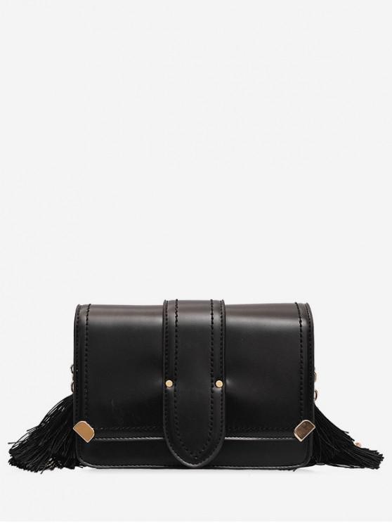 chic Tassel Design Leather Shoulder Bag - BLACK