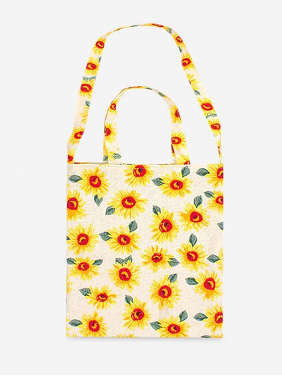 affordable Flower Pattern Cotton Shoulder Bag - BEIGE