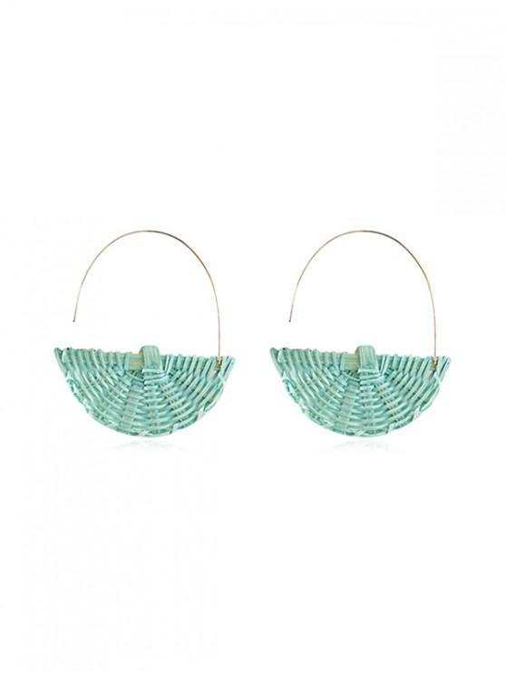 buy Semicircle Rattan Handmade Earrings - MACAW BLUE GREEN