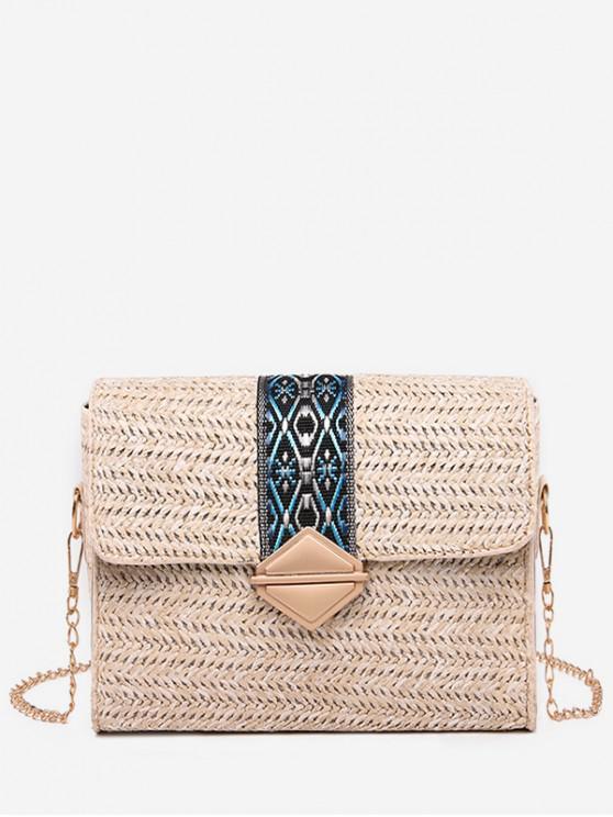lady Ethnic Square Shoulder Bag - WARM WHITE