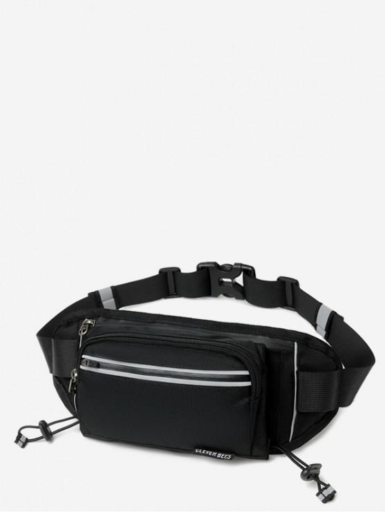 online Outdoors Pockets Oxford Fabric Waist Bag - BLACK