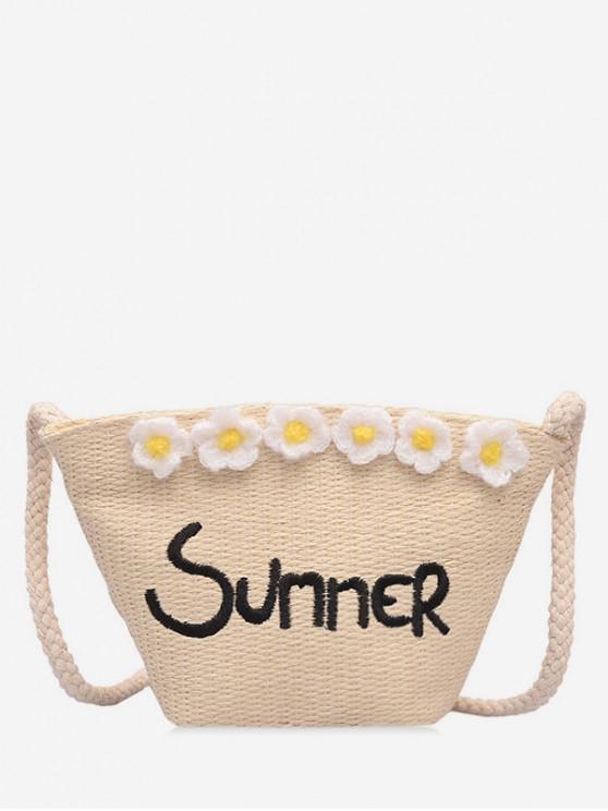 outfits Summer Straw Flower Pattern Shoulder Bag - BEIGE