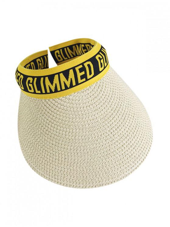 sale Letter Graphic Straw Visor Hat - YELLOW