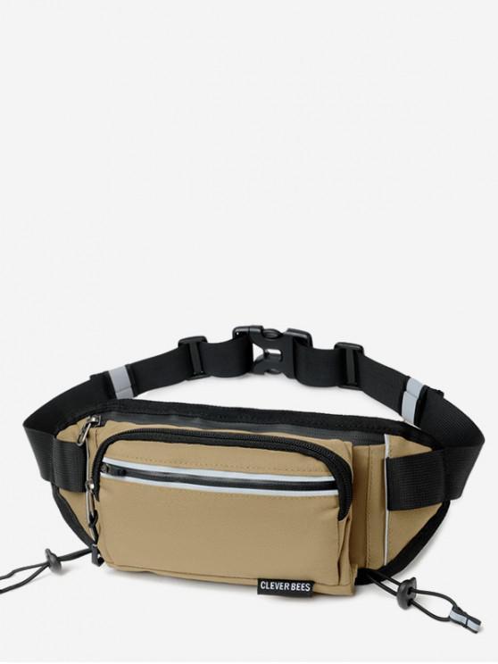 womens Outdoors Pockets Oxford Fabric Waist Bag - LIGHT KHAKI